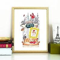 友人テレビ番組ポスタープリントセントラルパーク水彩アートキャンバス絵画デザイン画像ホームウォールアートインテリア-50×70センチ×1個フレームなし