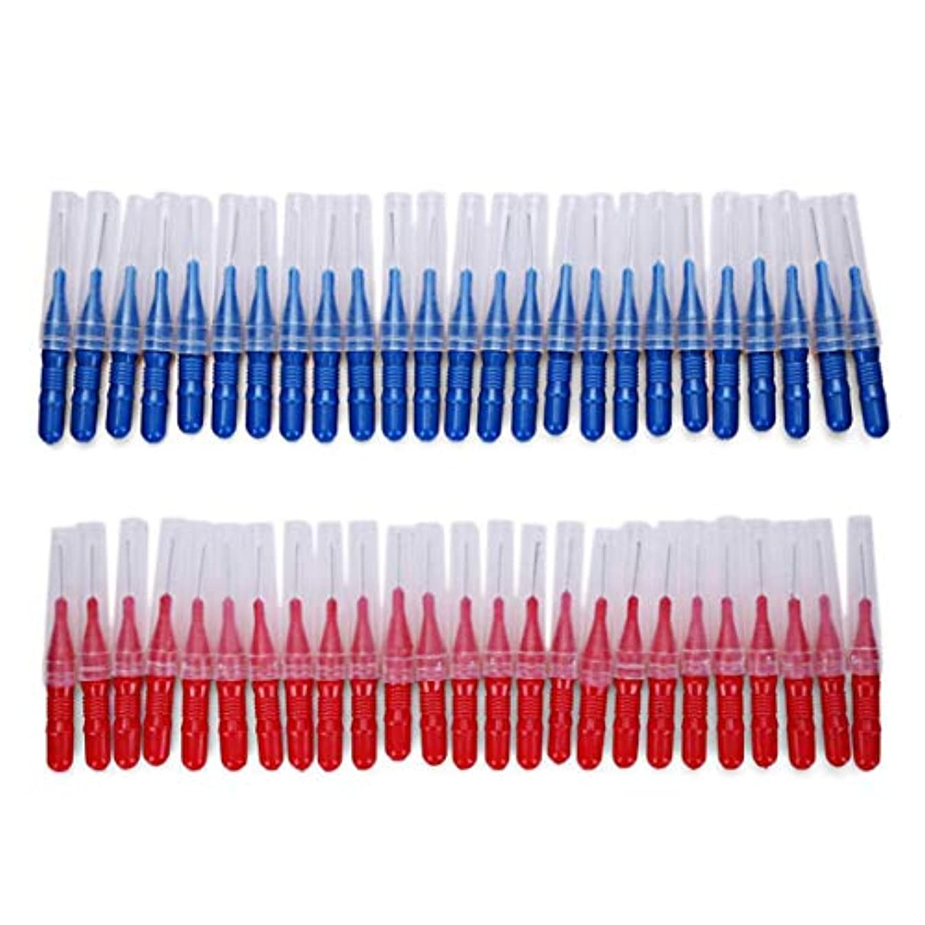 見分ける真実にすべて2.5ミリメートル50ピース/セットブラッシング歯すきま歯ブラシクリーニングツール歯のケア歯科用歯間ブラシ - 赤と青