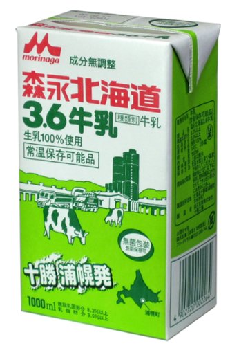森永北海道3.6牛乳(成分無調整) 1000ml×12個入