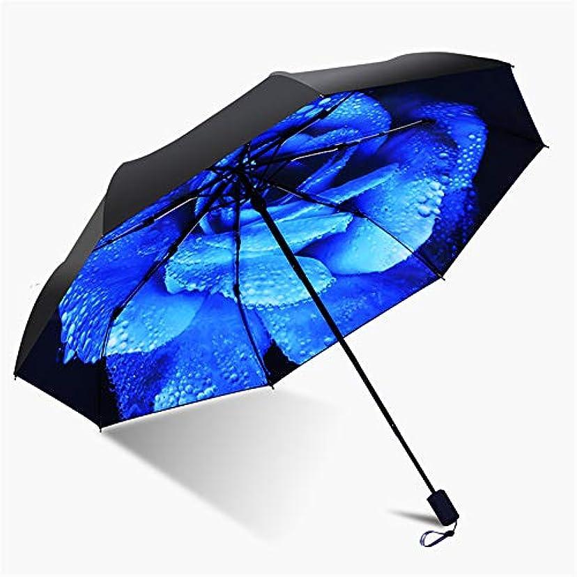 些細実用的ウサギ旅行傘、軽量マニュアルレイン傘アンチ UV 3 折りたたみ太陽保護傘女性屋外防風傘,Blue