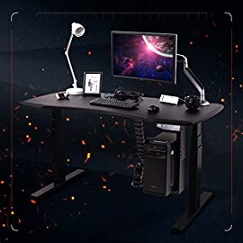 FlexiSpot ゲーミングデスク電動式スタンディングデスクカーブ型天板 パソコンPCデスク高さ調節ワークテーブル