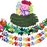 Livder Hawaiian Party Decorations Set, Multicolored Tropical Theme Party Supplies, 24 Pieces Artificial Palm Leaves and Flowers, 2 Pieces Leis Garlands and Tissue Paper Garland