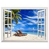 Yesurprise 偽窓ステッカー 青い空 海 夏のビーチ ヤシの木 壁飾り 窓枠 絵 窓の景色 オープンウィンドウ ウォールステッカー 窓ポスター ビニール製 インテリア お風呂のポスター 壁紙 60*80cm