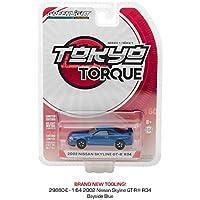 GREENLIGHTミニカー東京トルク 【1/64スケール 2002年式日産スカイラインGTR R34(ベイサイドブルー)/ Nissan Skyline GT-R R34/Torque Series1】 品番29880e