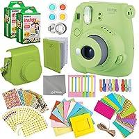 Fujifilm Instax Mini 9 Instant Camera + Fuji INSTAX Polaroid Film (40 Sheets) + Accessories Bundle - Carrying Case Photo Album Assorted Frames Colorful Sticker Frames (EMOJI) MORE (Lime Green)