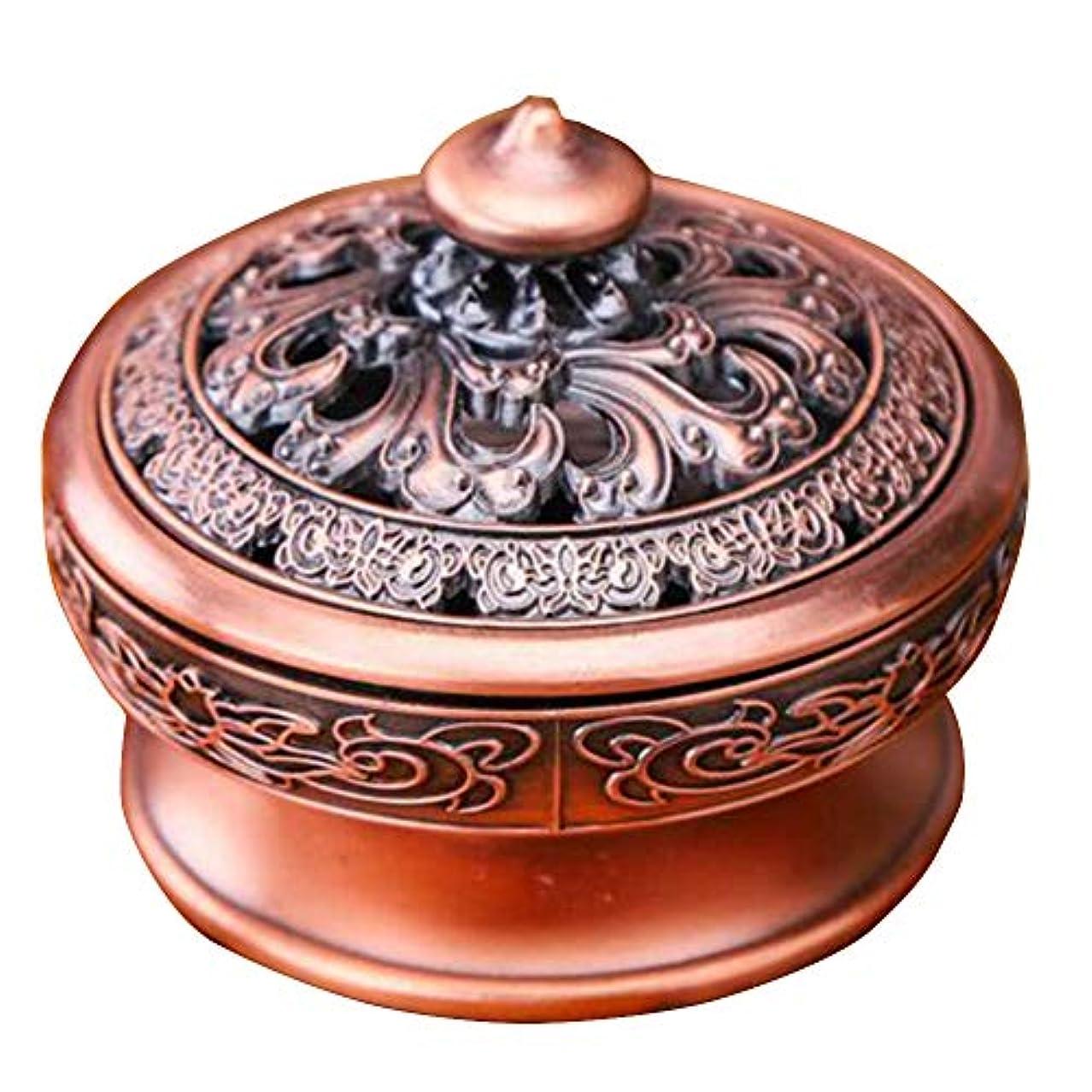 興奮有害城(イスイ)YISHUI 香炉 お香 アロマ 銅製 丸香炉 お線香立て お香立て 香皿 アンティークモダン風 蓋 スティック 直径7.1cm HP0232 (赤色)