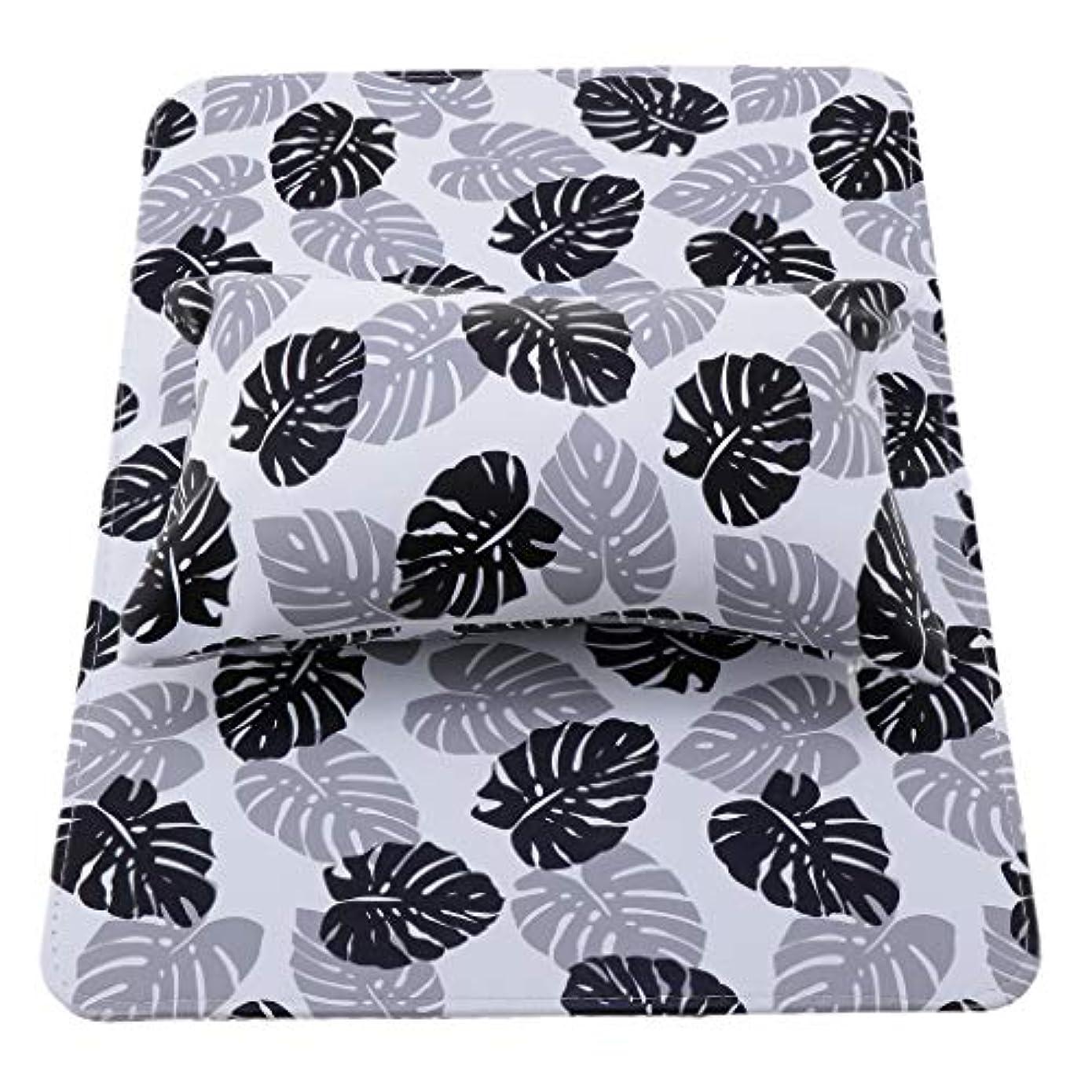 花輪重くする織るPerfeclan ネイルアートハンドピロー ハンドピローパッド ネイルアートクッション 可能な洗える 折りたたみ式 全3色 - ブラック