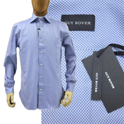 GUY ROVER GUYROVER ギローバー 長そでシャツ コットン(綿)100% ワイドえり 織り柄 無地 ブルー(青)37/39 ss05 (37)