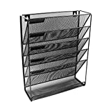 CZXXJP Metal Mesh Wall-Mounted Magazine File Rack Office Desk 5 Layer Interval Archive File Magazine Magazine Notebook Storage Black (Color : Black)