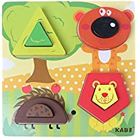 Chone木製トラフィック動物パズルジグソー、Montessoriおもちゃ子供教育玩具for 2 – 4 Years Old幼児、子供の脳開発トレーニング、最適想像力 S マルチカラー 7HH900217