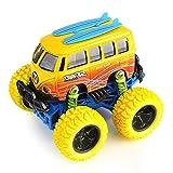 Liebeye オフロード車玩具 トラック おもちゃ 合金 プルバック ダイキャスト ショックに抵抗 クリスマス プレゼント DX1111黄