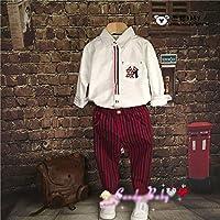 格安!!90-100-110-120-130-140セット★ベビー★幼児★ストライプ柄★プリント★シャツ+ズボン