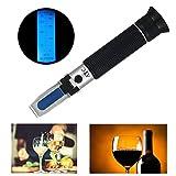 屈折計0-80%アルコール屈折計アルコール計 シングル規模測定アルコール ATCバックライトテストツール ブドウ栽培者、せいしゅ、しょうしゅ、アルコール生産、蒸留酒、飲料、水とエタノール ウイスキー、