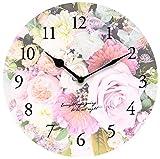 壁掛け時計 インテリア アート クロック ブーケ ピンク 直径28.5cm
