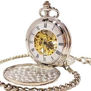 【ノーブランド品】- 鏡面白銀 - 手巻き式 懐中時計 両面蓋 両面 スケルトン ホワイト シルバー ダブル クラムシェル