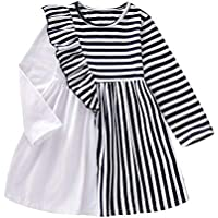 Bonny Boom Designed Girls Dress with Black White Stripes Long Sleeves Cotton GD0012