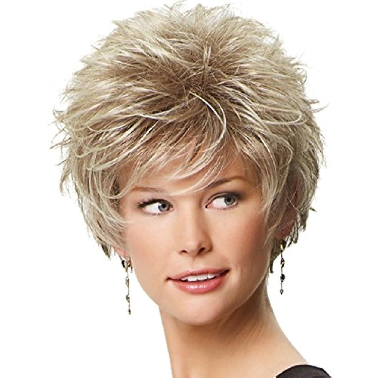 虐殺母音中にJIANFU 女性のための優雅なかつらエアーフラットバンズウィッグとショートカーリーヘアー女性のための耐熱性のあるふわふわウィッグ10inch / 11inch(灰色がかった白、金色) (Color : Golden)