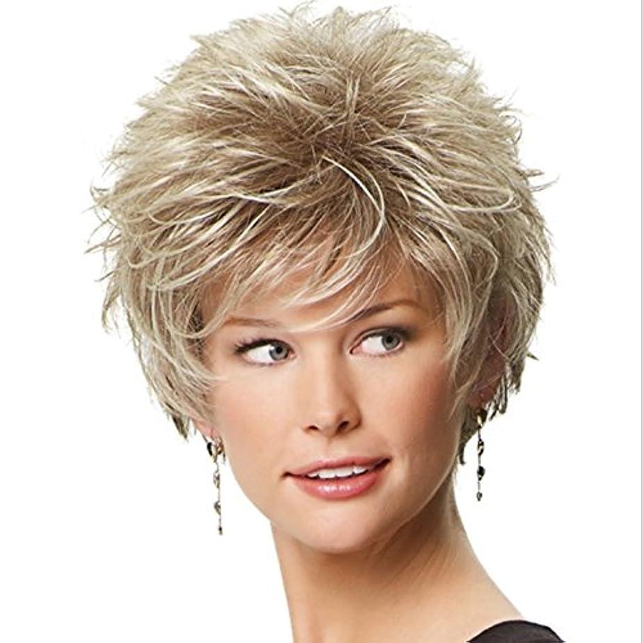 レイアウト平行有用YOUQIU 女性の10インチ/ 11inch用エアフラッツ前髪ウィッグ耐熱ウィッグふわふわで女子ショートカーリーヘアウィッグエレガント(灰色がかった白、金色)ウィッグ (色 : Golden)