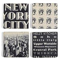 Studio Vertu New York City大理石コースター、ブラックとホワイト、4のセット