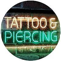 Tattoo Piercing Get Inked Shop Open Dual LED看板 ネオンプレート サイン 標識 Green & Yellow 400mm x 300mm st6s43-i2484-gy