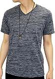 OVAL DICE(オーバルダイス) Tシャツ ネックレス セット 半袖 ゆる Vネック 無地 メンズ ブラック M