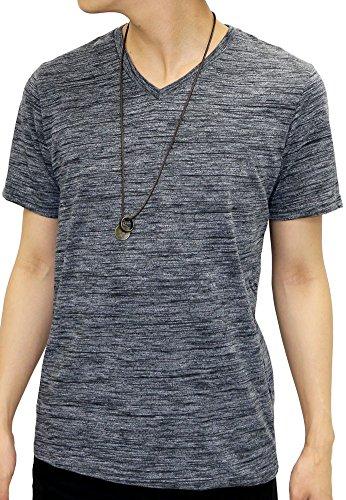 OVAL DICE(オーバルダイス) Tシャツ ネックレス セット 半袖 ゆる Vネック 無地 メンズ ブラック LL