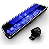 10インチフルスクリーンモニター搭載 ルームミラー型ドライブレコーダー + 防水バックカメラセット タッチパネル操作 フルHD画質 ループ録画 前後カメラ同時記録 取付簡単 12V車専用 FMTRMDX6