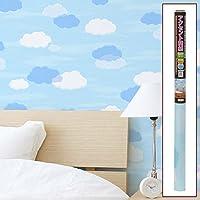 【壁 壁紙 はがせる 防水 のり不要 DIY ウォールシート 貼る オシャレ】アクセント壁紙 92cmx2.5m 11:雲(B915-S11)