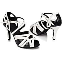 KAI-ROAD Womens Black Latin Dance Shoes Ballroom Dancing Heels 8.5cm High Heels Suede Sole Salsa Shoes