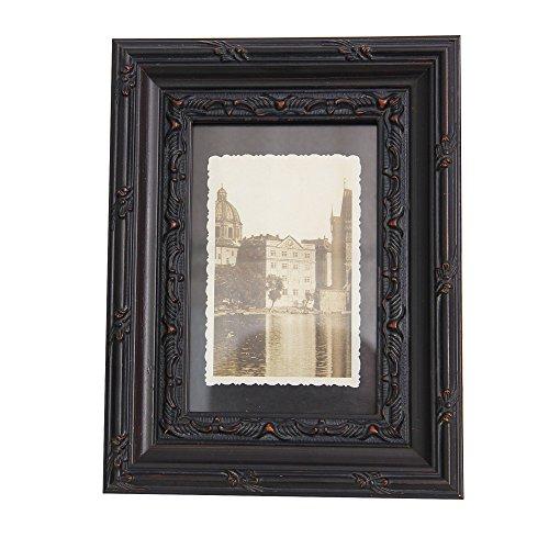 Fulemay フォトフレーム 木製 アンティーク調 フレーム 黒 写真立て 壁掛け 卓上用 (KG, ブラックウッド)