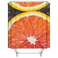 Adisaer【アディサー】-カフェカーテン お風呂場 シャワーカーテン カラー オレンジ色 横x縦【180x180CM】 浴室の目隠し お風呂場 おしゃれ リング付属 カーテン