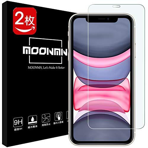 MOONMN【2枚セット】iPhone 11 フィルム 6.1インチ 日本旭硝子製 硬度9H iPhone 11 ガラスフィルム 2.5Dウンドエッジ加工 撥油性 超耐久 耐指紋 高透過率 6.1インチ iPhone 11 強化ガラスフィルム