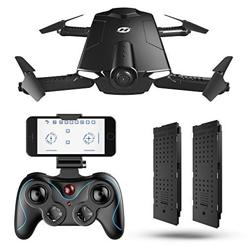 Holy Stone ドローン カメラ付き 折り畳み式 ポケット バッテリー2個 飛行時間15分 セルフィードローン 720P 生中継可能 高度維持 国内認証済み モード1/2自由転換可 HS160