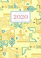 Planner 2020 Weekly Monthly: A5 Full Year Notebook Organizer Small | 12 Months - Jan to Dec 2020 | Creative Tribal Geometric Design Yellow