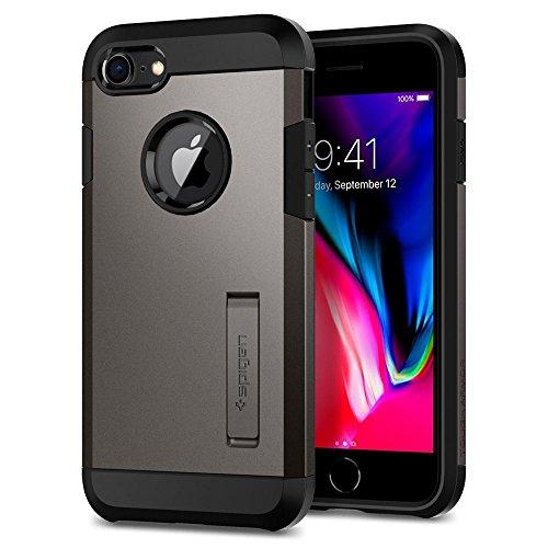 【Spigen】 スマホケース iPhone8 ケース / iPhone7 ケース 耐衝撃 米軍MIL規格取得 スタンド機能 タフ・アーマー 2 054CS22214 (ガンメタル)