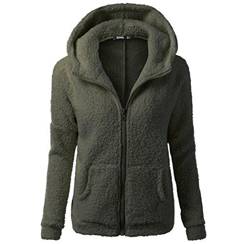 Hanaturu ジャケット レディース 可愛い アウター コート 無地 フード付き ジップアップ シンプル 秋 冬 暖かい 人気 プレゼント 大きいサイズ ピンク 黒白灰色 8色選べ S M L XL 2XL 3XL 4XL 5XL (M, アーミーグリーン)