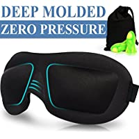 AMAZKER 3D Sleep Mask, Comfortable Sleeping Mask for Night Shift, Travel, Night Sleep or Nap, Contoured Eye Mask with Pouch and Earplugs, Light-blocking Blindfold for Men and Women(Black)