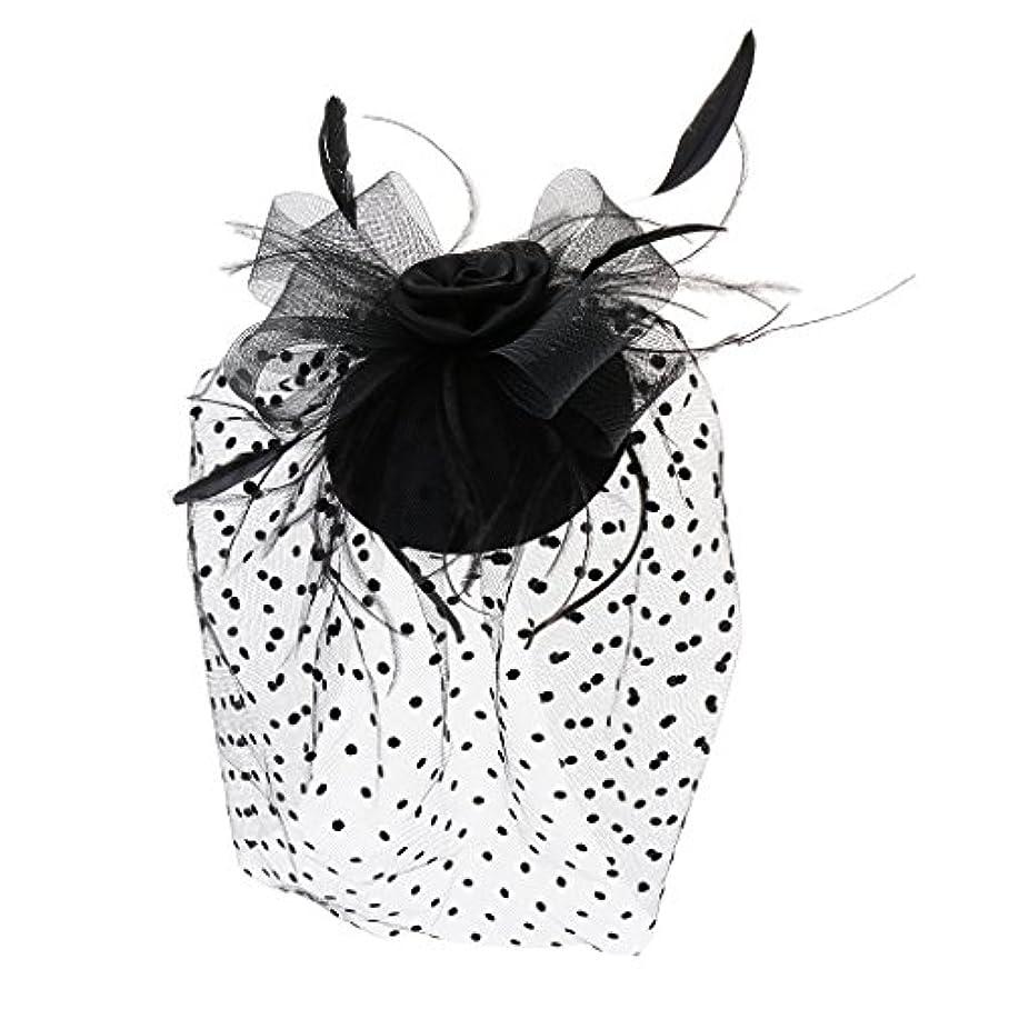 強いますコスチューム通常Fenteer ミニトップ ハット 帽子 ベール ブラック フェイスベール 羽毛 花 ヘアクリップ