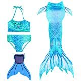 Ourine 4pcs Mermaid Swimsuit with Monofin, Girls Swimmable Mermaid Tail, Princess Bikini Swimwear Set, Suitable for Cosplay, Theme Party, Photos, Swimming (120 cm, Blue)