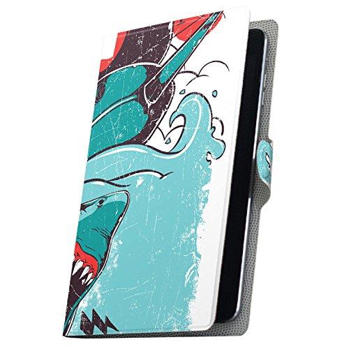 タブレット 手帳型 タブレットケース タブレットカバー 全機種対応有り カバー レザー ケース 手帳タイプ フリップ ダイアリー 二つ折り 革 サメ JAWS イラスト 005372 Fire HDX Amazon アマゾン Kindle Fire キンド