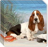 Basset Hound Rubber Coaster Set by Canine Designs