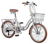 キャプテンスタッグ ホワイトニングバレイ 20インチ 折りたたみ自転車 FDB206 [ シマノ6段変速 / LEDオートライト / リング錠 / リアキャリア / 前後泥よけ ]標準装備 YG-240