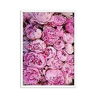 ポスターとプリントピンク牡丹ポスターキャンバス絵画北欧壁ポップアート写真用リビングルーム装飾家の装飾50×70センチメートル非フレーム