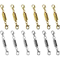 I-MART Pack of 12 Gold Tone Magnetic Lobster Clasps and Closures for Jewelry Necklace Bracelet (6 Pcs Gold Color 6 Pcs Silver Color)
