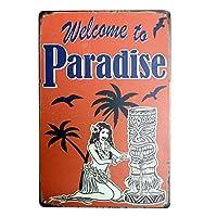 Vintage Retro Home・ヌ・ウ・ゥ`・キ・逾皈ソ・・オ・、・aradise、リ、隍ヲ、ウ、スTIN SIGN 7.8 X 11.8 INCH
