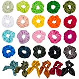 26 PCS Assorted Colors Women's Hair Elastic Hair Bands SourceTon 20 Colors of Velvet Elastic Hair Bands & 6 Colors of Chiffon Hair Scrunchies Chiffon Ponytail Hair Ties, Perfect for Women and Girls