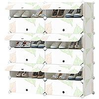 シューズラック- 靴キャビネットフレームのプラスチック製の靴のラックResinStorage棚の扉6ティア24ペア(白L95 * W37 * H111cm)