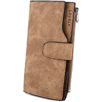 UTO RFID Wallet for Women PU Matte Leather Card Phone Coin Holder Organizer