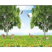 Ljjlm カスタム壁紙草原青空動物テレビの背景壁画家の装飾リビングルームの寝室の壁画3Dの壁紙-360X240CM
