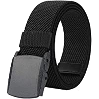 "Belts for Men,Elastic Stretch Belt with YKK Plastic Buckle, Breathable Canvas Waist Belt for Work Outdoor Cycling Hiking, Adjustable for Pants Size Below 46inches[53""Long1.5""Wide]"